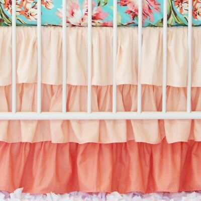 Caden Lane Coral Gradient Ruffle Crib Skirt