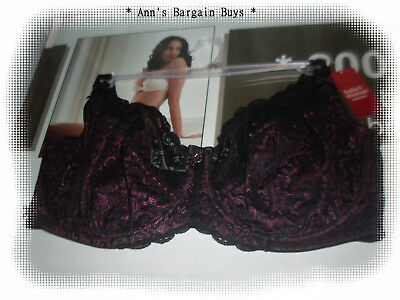 Today's Woman-Plus Size-24E-Sexy-Sheer-Full Figure-Lace-U/W-Bra-Black/Pink-BNWT