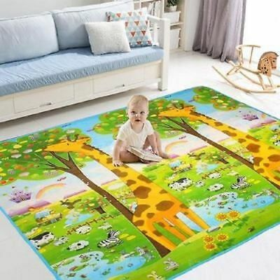 2 Side Baby Kid Mat Crawling Educational Play Soft Foam Baby Carpet 200X180Cm Uk
