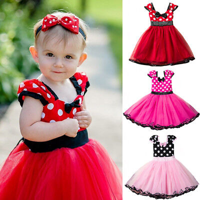 Toddler Baby Girl Minnie Mouse Bow Tutu Dress Skirt Kids Cosplay Party Costume