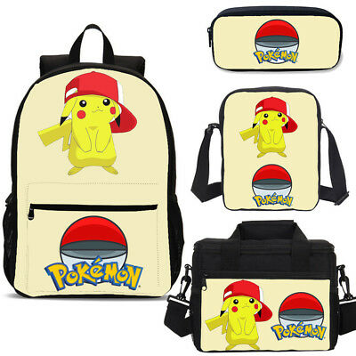 Pokemon Pikachu Girls Backpack Insulated Lunch Box Shoulder Bag Pencil Case Lot