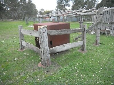 Antique Vintage Early Old Australian Post and Rail Fence Corner PORTABLE