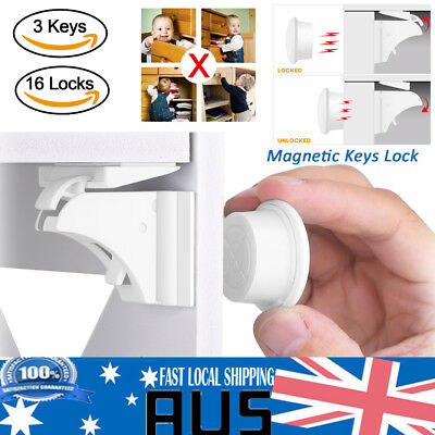 16Sets Magnetic Child Kids Baby Safety Lock For Door Drawers Cupboard Cabinet