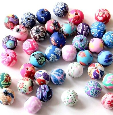 30Pcs Polymer Clay Flower Design Beads Finding For Jewelry Making