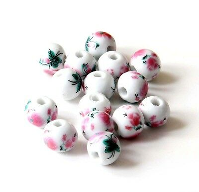 20Pcs Hand Painted Peony Porcelain Beads Finding For Jewelry Making