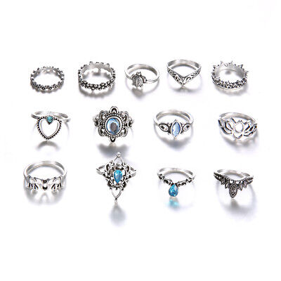 13Pcs Women Vintage Silver Color Silver Plated Crystal Ring Set Jewelry Gift 8C