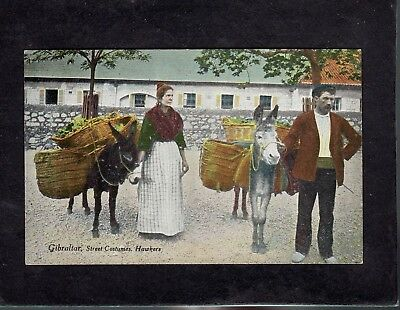 Donkeys and street costumes ethnic Gibraltar postcard