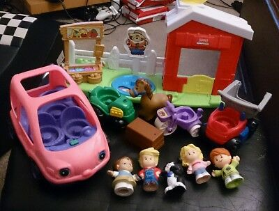 12pc Little People FARM Dump Truck TRACTOR Car SCOOTER Mix Lot TOYS Fisher Price