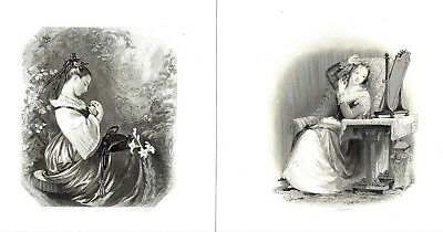 """8 x Victorian Genre Scenes - Engraved by Various Artists - c1830-1850 - 7"""" x 9"""""""
