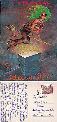 1987 Witches From Riegersburg Austria Colour Postcard