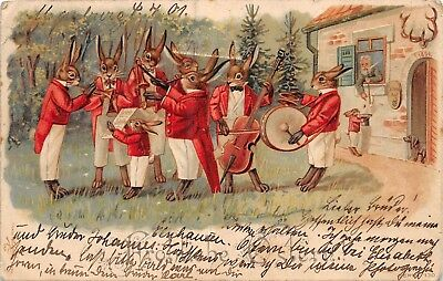 Red Jackets Rabbits Orchestra Band~Small Rabbit Collects Money German Postcard