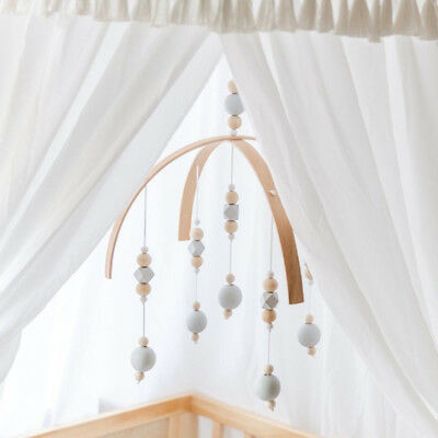 Baby Crib Mobile Bed Bell Toy Holder Wooden Beads Nordic Style Home Kid Gifts AU