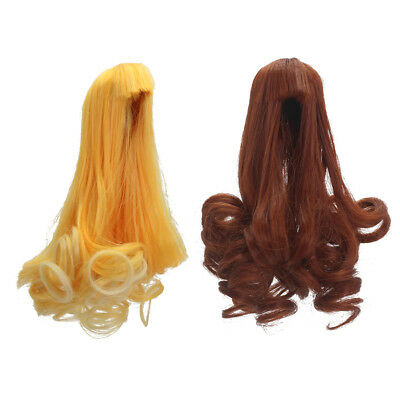 Wavy Hair Wig for Barbie Kurhn BJD Dolls DIY Making Supplies Yellow&Brown