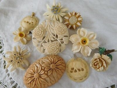 Lovely Mixed Collection of Vintage 1950s Carved Flower Brooches