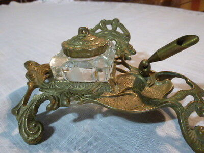 VTG Antique Brass Glass INKWELL Art Deco Butterfly Footed Stand Glass Insert