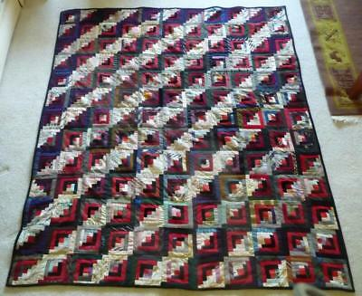 "Antique Log Cabin Quilt - Streak of Lightning - 1890-1910 -  62"" x 70"""