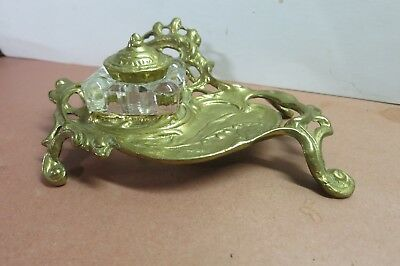 Art Nouveau Solid Cast Brass Inkwell Stand and Glass Inkwell with Brass Cover