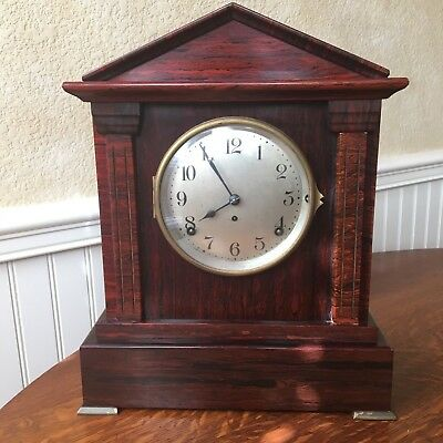 Antique Seth Thomas Sonora 4-Bell Red Adamantine Mantel Clock