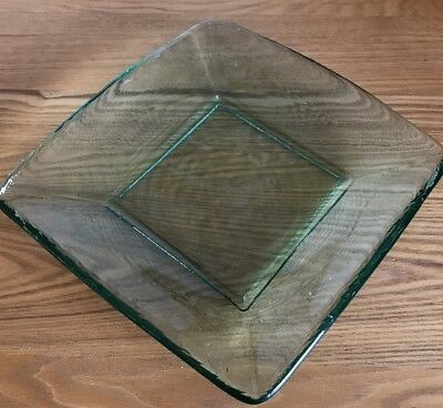 """Lovely, Recycled, Clear Green Glass, 8.5"""" Square, Simple Dish or Shallow Bowl"""