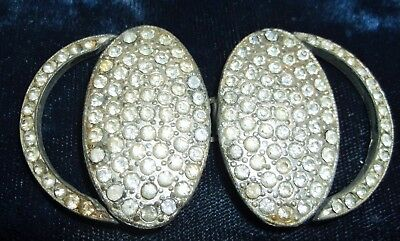 Vintage Art Deco Signed Wmca Pave Rhinestone Pot Metal Belt Buckle 1930's