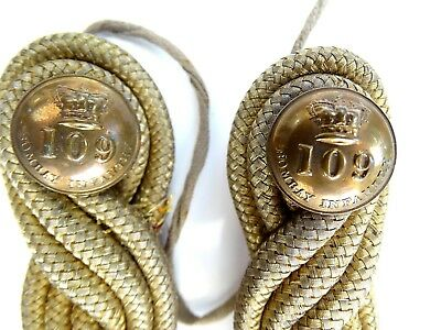 Victorian British Army 109Th Bombay Infantry Gold Bullion Epaulettes & Buttons