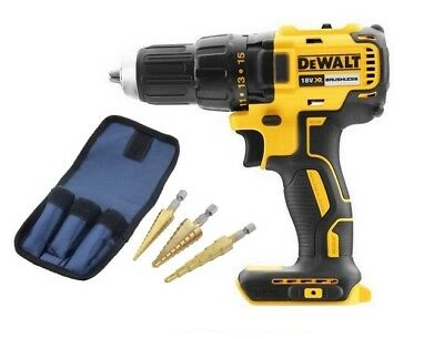 DeWalt DCD777N 18v XR Brushless Drill Driver Body + 3pc HSS Step Drill Set