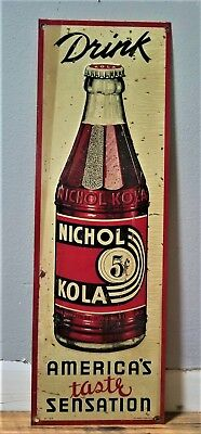 Nichol Cola vintage antique sign Tin Embossed Original 1930s NOS