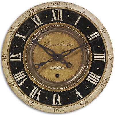 French Country Brass Wall Clock | Antique Vintage Style Paris Old World