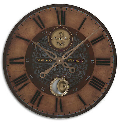 Antique Style Exposed Brass Gears Pendulum Wall Clock |  Vintage Look Gold Brown