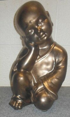 "Ceramic Baby Buddha Figure 16"" Bindi Golden Finish"