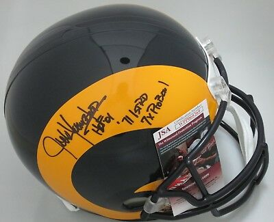 Rams JACK YOUNGBLOOD Signed Replica Full Size Helmet AUTO w  3 Scripts - JSA 706eb4917
