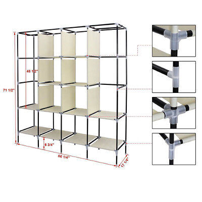 Clothes Closet Portable Wardrobe Clothes Storage Rack 12 Shelves 4 Pockets S247