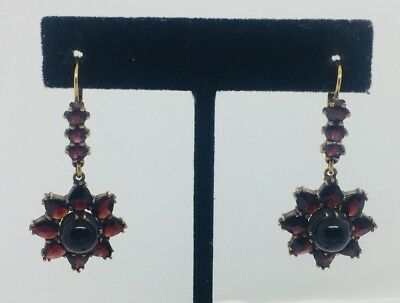 Antique Victorian Gold Plated Red Garnet Star Dangle Earrings
