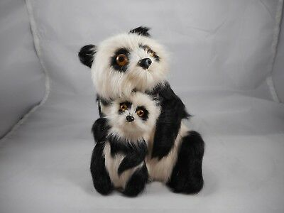 Vintage Panda Bear Mother and Baby Real Fur Collectible Figurine