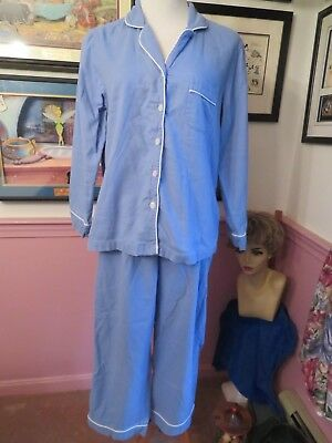 L.l. Bean 2 Piece Pajamas Light Blue With White Piping Size Large Petite