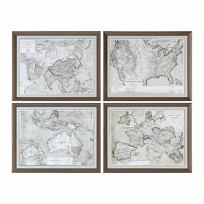 Set of 4 Vintage Style Sepia Map Prints | World Wall Art Brown Antique Countries