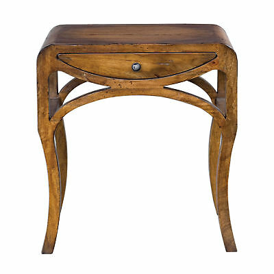 Vintage Style Sculpted Architectural End Table Modern Drawer Accent Honey Pecan