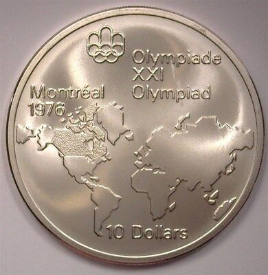 Canada 1973 Silver $10 -Montreal Olympics, World Map- Near Perfect Uncirculated