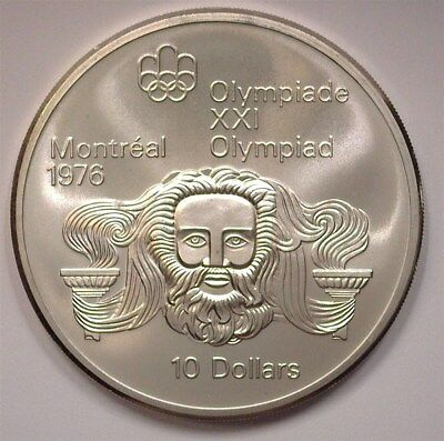 Canada 1974 Silver $10 -Montreal Olympics, Zeus- Perfect Uncirculated