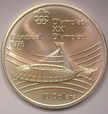Canada 1976 Silver $10 -Montreal Olympics, Stadium- Near Perfect Uncirculated