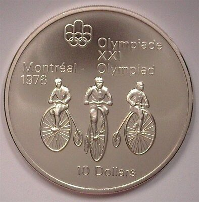 Canada 1974 Silver $10 -'76 Montreal Olympics, Cycling Near Perfect Uncirculated
