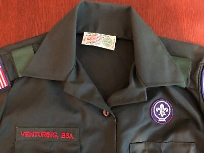 BSA Venturing Uniform Shirt - Green - Size Small - with Patches