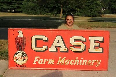 """Large Vintage 1941 Case Tractor Farm Machinery Gas Oil 72"""" Embossed Metal Sign"""