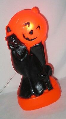BLOW MOLD WITCH holding JOL Jack-o-Lantern Black Cat HALLOWEEN Lighted Vtg m539
