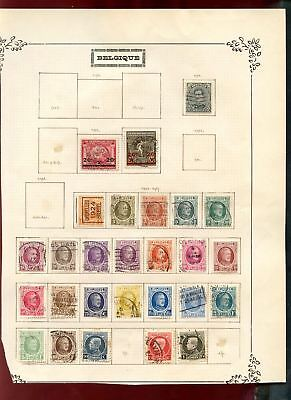 Belgium 1920-1927 Album Page Of Stamps #V6768