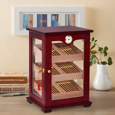 Retro Wooden 150 Cigars Humidor Cabinet Container Display Case Hygrometer Cherry