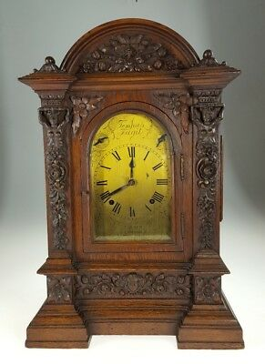 Large Boardroom Gothic Carved  Bracket Clock Musical Chime John Tuner London
