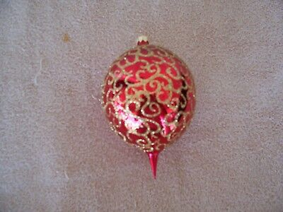 VINTAGE CHRISTOPHER RADKO LARGE RED and GOLD GLITTER BALL with POINT ORNAMENT