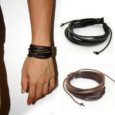 2X Mens Multilayer Art Tribal Bracelet Braided Hand Woven Leather Wristband Cuff