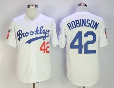fca8abc8 Special Version #42 ROBINSON Brooklyn WHITE Throwback Jersey, Stiched M-3XL